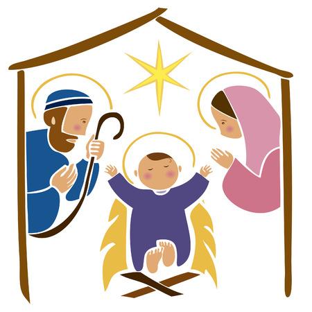 Image vectorielle de bébé Jésus dans une mangeoire Vecteurs