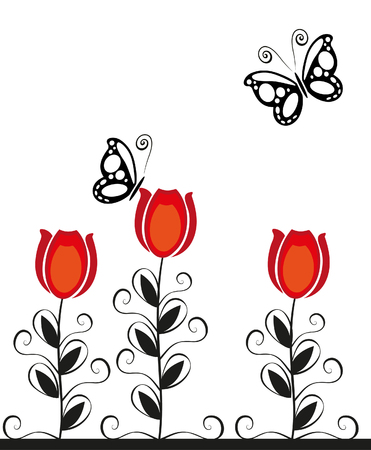 Vector image butterfly and flowers
