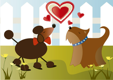 Vector image of dogs in love