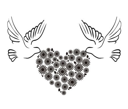 Vector image doves and heart