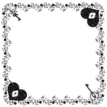 Frame with flowers, hearts and keys Ilustração