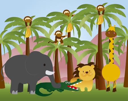 Wildlife animal colleciton Ilustracja
