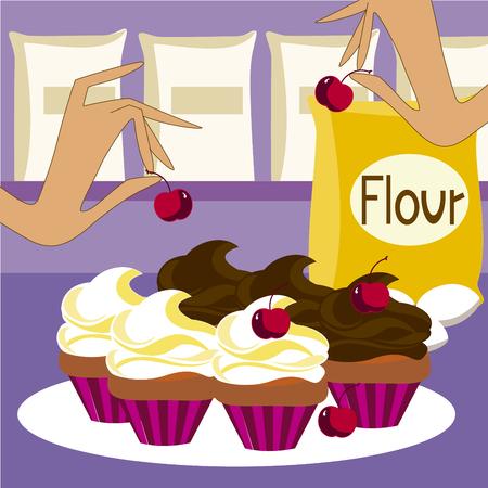 カップケーキのベクトル画像  イラスト・ベクター素材