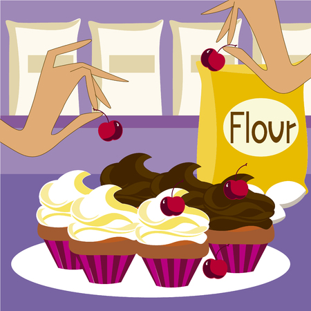 Vector image of cupcakes
