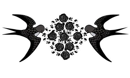 Swallow bird with flourishes illustration