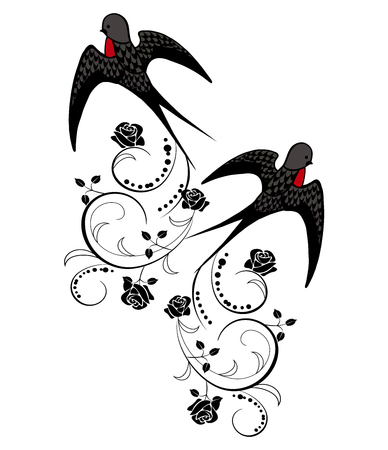 Swallow bird with flowers illustration