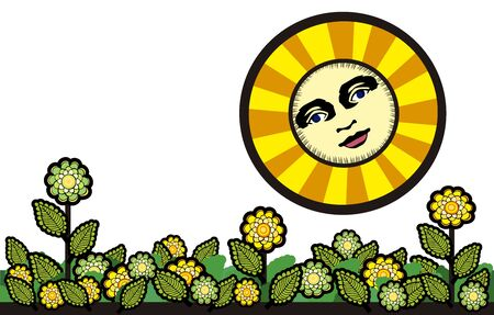Sun and flowers in vintage style