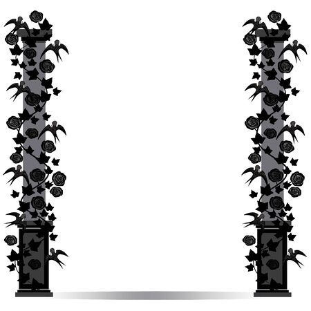 vintage postcard: vector image pillar with birds and roses