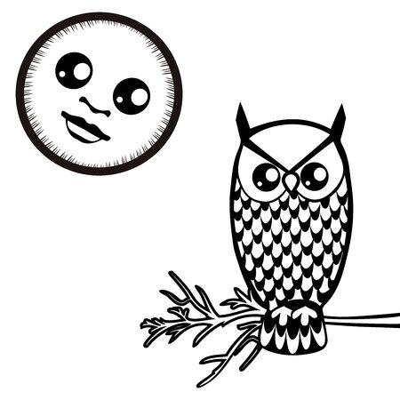 vector image owl and the moon Ilustração