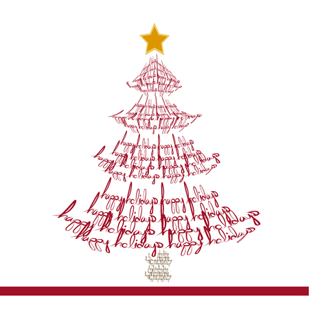 image of a Christmas tree made with words Illustration