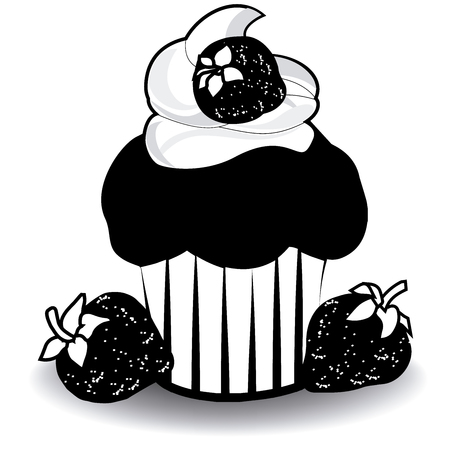Image of a cupcake with strawberry vector.