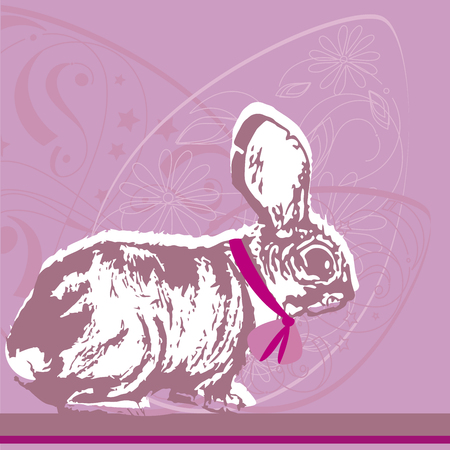 Vector image of Easter eggs bunny drawing