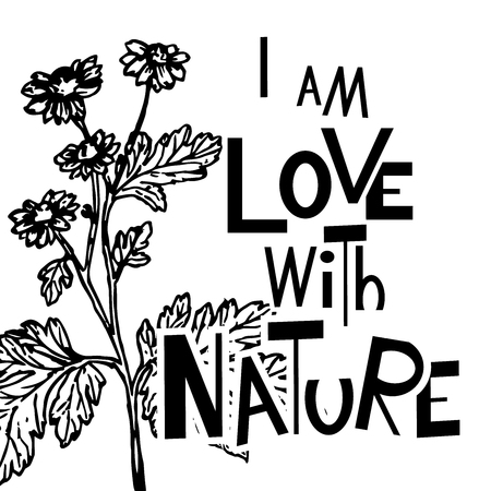 vector image of i love with nature with flowers