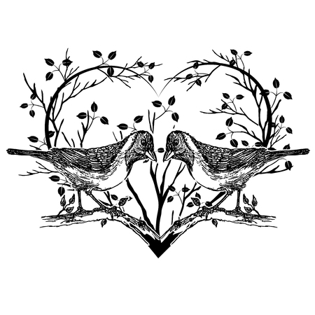 vector image of drawing of birds and heart Illustration