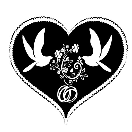 heart and doves with flourishes