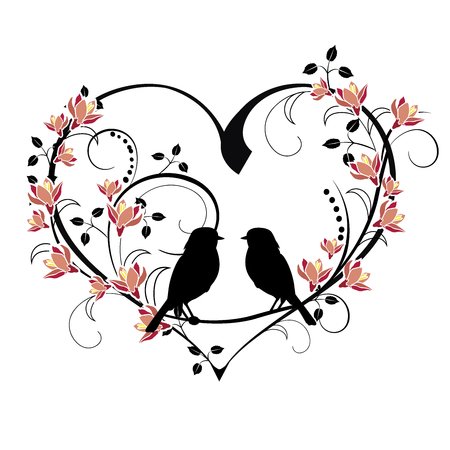 heart with birds and flourishes