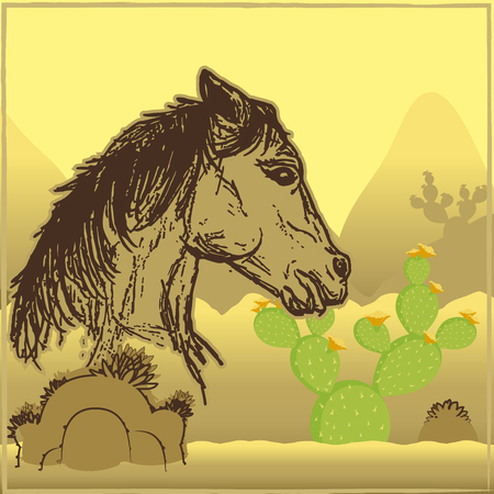 Horse in the desert illustration. 向量圖像