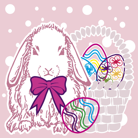 Background easter bunny with eggs version 1.