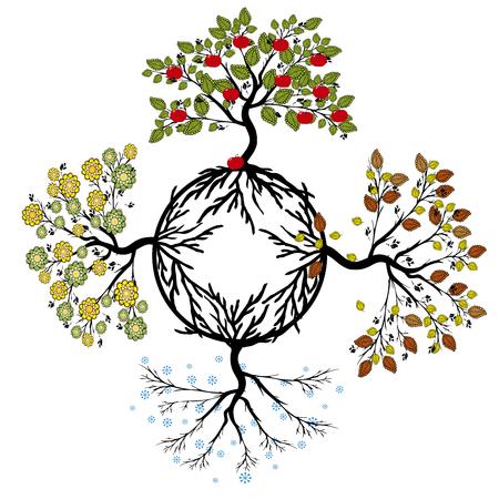 tree and seasons Illustration