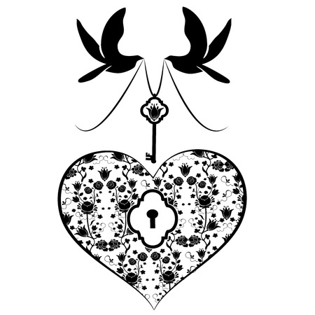 heart with key and doves Ilustrace