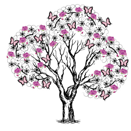 tree with butterflies and flowers black and pink Illustration