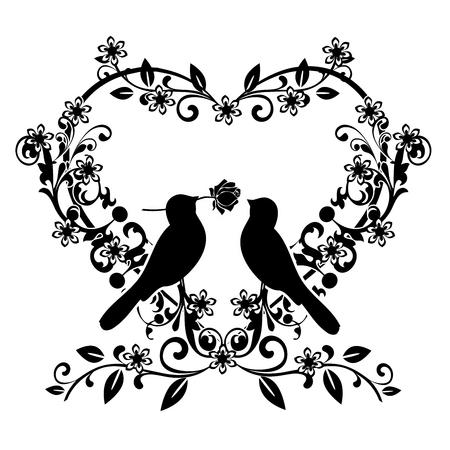 flourishes with birds love Ilustrace