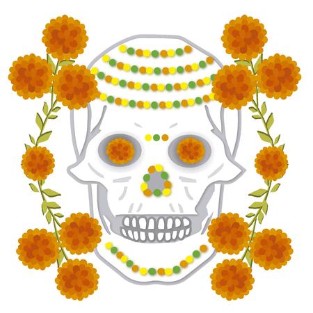 day of the dead skull Illusztráció