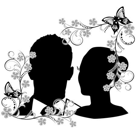 wedding silhouette with flourishes frame 2 일러스트