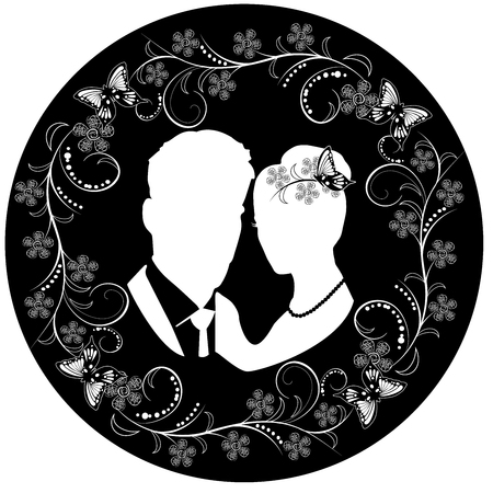 wedding silhouette with flourishes frame 3 스톡 콘텐츠 - 122930729