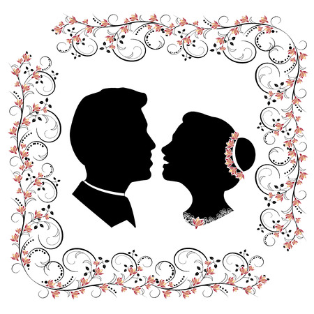 wedding silhouette with flourishes frame
