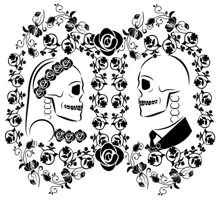 skulls wedding with flourishes 2