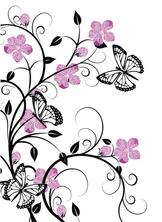butterflies with flourishes 2 Illustration