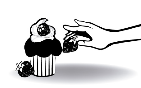cupcake with strawberry and hand