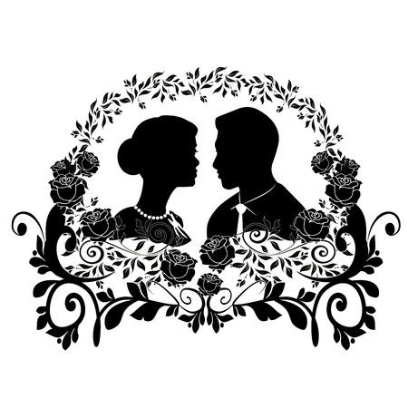 wedding silhouette with flourishes 9 Illustration