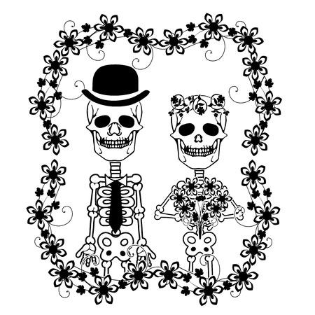 wedding skulls with flourishes 2 스톡 콘텐츠 - 122930731