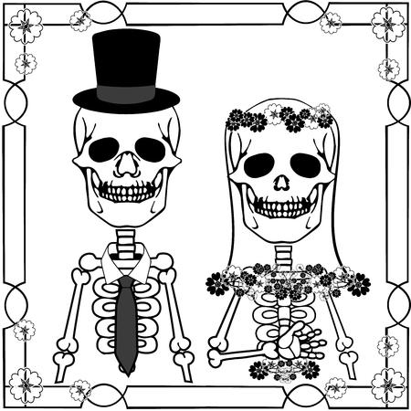 wedding skulls with flourishes Illustration
