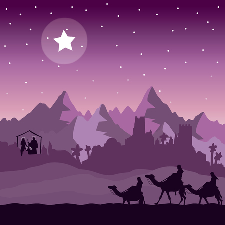 Christmas Nativity and the Three Wise Men Illustration