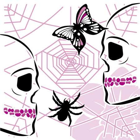 skulls with spiderweb and butterfly 스톡 콘텐츠 - 122949346