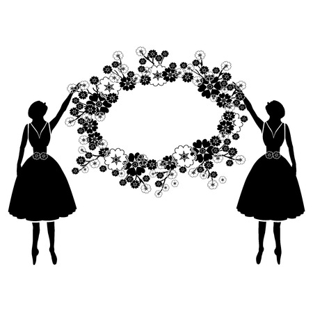 women silhouette with flourishes Illustration