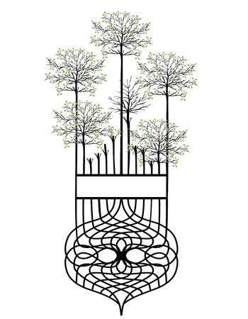 design element vintage trees