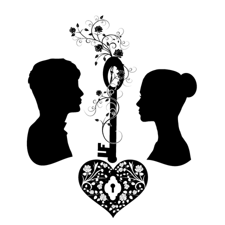 silhouette wedding with key and heart