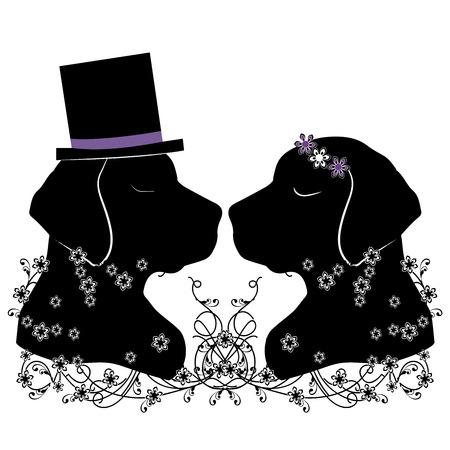 silhouette dogs wedding flourishes