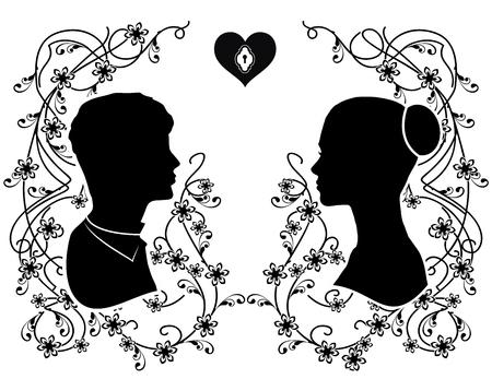 silhouette wedding flourishes 4 Ilustrace