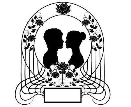 silhouette wedding flourishes 4 스톡 콘텐츠 - 122949578