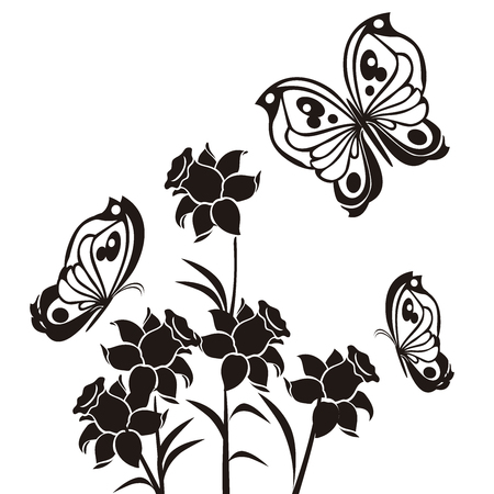butterflies and flourishes with flowers