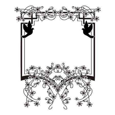 design element flourishes doves vintage