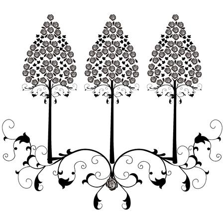 design element flourishes tree vintage