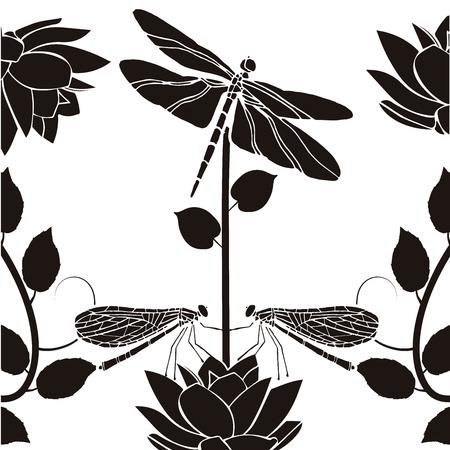 design element flourishes dragonflies vintage