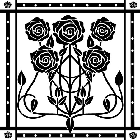 design element flourishes vintage in black