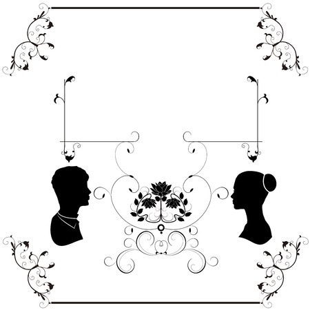 wedding flourishes silhouette